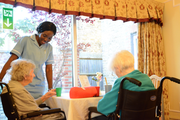 Residents and staff at oacroft nursing home